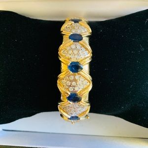 Jewelry - 14k solid gold blue sapphire diamond bracelet